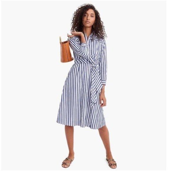 J. CREW Tie Waist Shirt Dress Lighthouse Stripe H4